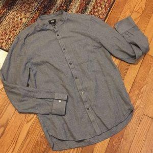 H&M Men's Collarless Button Down Shirt